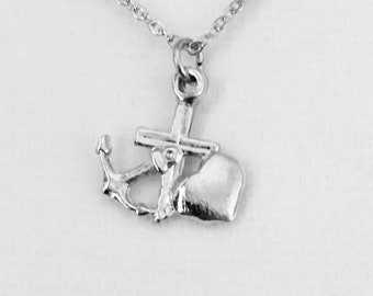 "Vintage Faith Hope and Charity pendant, religious pendant, Christian pendant, small 1/2"" silver plated pendant with a 16"" silver link chain."