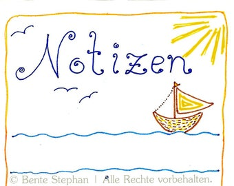 """Notepad, """"Fish"""", pad, notes, to do list, note pad, children, maritime,beach,ocean,seagulls,gift sailor,stationery,drawing,art,gift,birthday"""