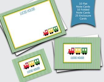 Personalized Kids Stationary / Train Notecard Set / Transportation Thank You Notes for Boys / Custom Stationery Set (Item #1702-034FFC)