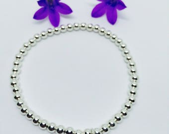 Sterling silver puff heart beaded stacking bracelet