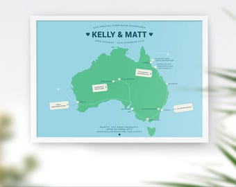 Australia Travel Map Honeymoon Map Holiday Tour Map Trip Map Anniversary Map