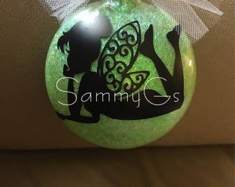 Tinkerbell Christmas Ornament - glitter