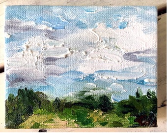 A small study cloudy skies- Oil Painting on Canvas, completed during artist residency at State Park