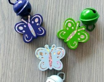 3 + 3 bells blue and green butterflies