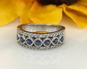 Sapphire and Diamond Three Row Band Wedding Anniversary 14k White Gold #1836