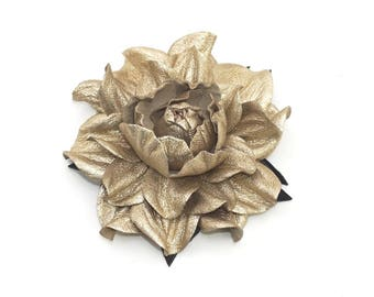 """SALE! REAL metallic white gold leather flower brooch pin -  large yellowish silver ROSE 4""""   Handmade floral jewelry, leather flowers"""