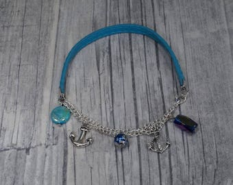 Leather strap anchor turquoise