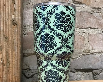 Black Damask Tumbler- Elegant- Girly- Many color combos and Glitter!! Great Birthday Gift! 30 oz. RTIC - Gift for Mom Sister Daughter