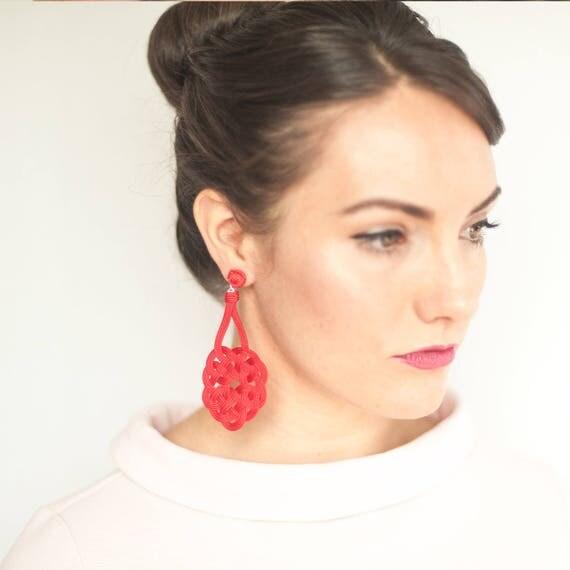 Eternal Knot Earrings / Sz Large / Winter Fashion Preppy Earrings Bridesmaid Jewelry Statement Earrings Holiday Jewelry Statement Jewelry