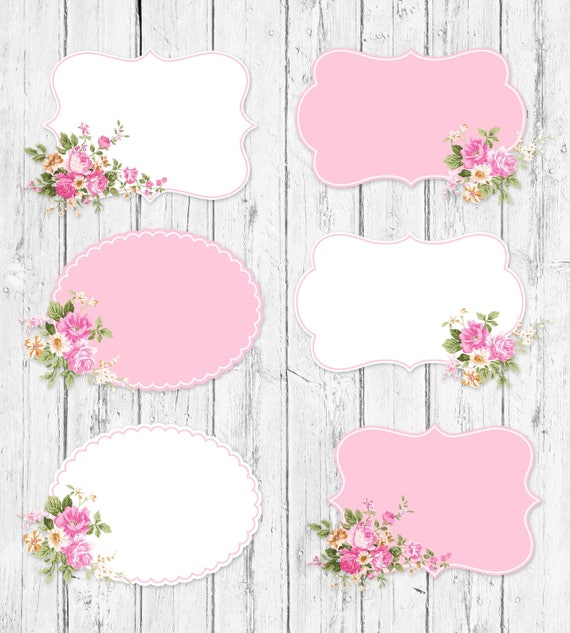 Shabby Chic Labels Frames Floral Digital Clipart From CharmePapeteria