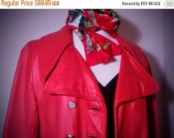 ON SALE Red Leather Vintage Ladies Coat -  Double-Breasted Smooth Leather