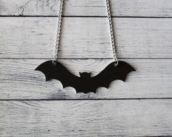 Shrink Plastic Necklace Black Bat Midnight Necklace Halloween Necklace Gothic Necklace Horror Necklace Unusual Necklace Odd Necklace