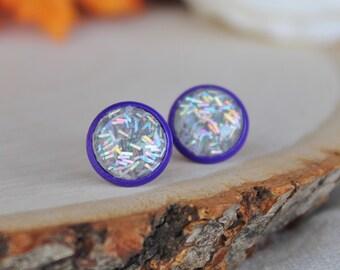 READY TO SHIP / Holo Glitter Earrings / Nickel Free Earrings / Hypoallergenic Earrings / Purple Earrings / Silver Earrings