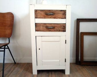 French vintage Marmalade jar revisited, small revamped old furniture, kitchen cabinet, 1 door 2 drawers