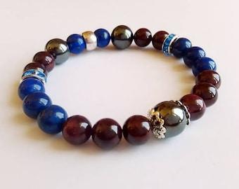 BLUE CALM Mineral Bracelet with Hematite, Lapis lazuli and Garnet, Yoga Bracelet, energy stone,