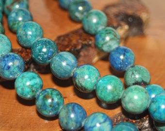 Azurite Gemstone Beads 10mm Round