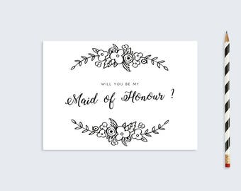 Printable Maid Of Honour Card  |  DIY Wedding Stationary  |  A6 Floral Card