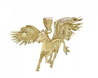 14k Yellow Gold Pegasus Horse Charm