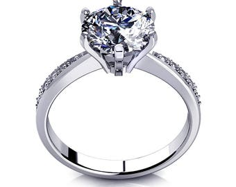 2.00 carat Round Cut Simulated Diamond Engagement Ring 14K White Gold