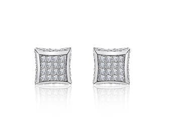 Sterling Silver White Cubic Zirconia Square Micropave Stud Earrings 8