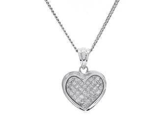 1.25 Carat Princess Cut Diamond Heart Necklace 14K White Gold