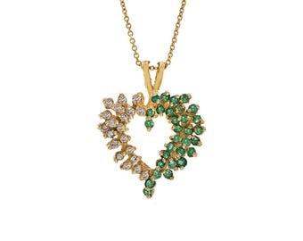 0.40 Carat Emerald & 0.30 Carat Diamond Heart Pendant Necklace 14K Yellow Gold
