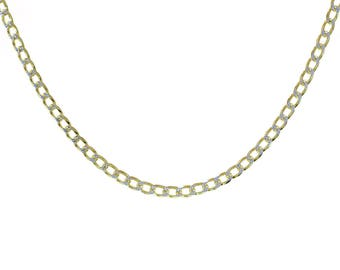 """Curb Link Diamond Cut 18K Yellow Gold Over Sterling Silver 18"""" Chain"""