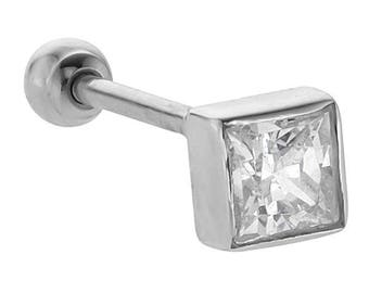 Diamond Princess Cut 14K White Gold Cartilage Stud Earring .25CT