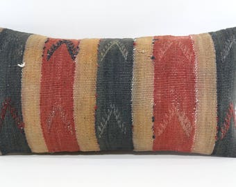 Bohemian Kilim Pillow Sofa Pillow Ethnic Pillow 10x20 Naturel Kilim Pillow Sofa Pillow Ethnic Pillow Cushion Cover SP2550-1022