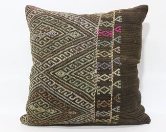 24x24 Anatolian Kilim Pillow Embroidered Kilim Pillow 24x24 Zigzag Kilim Pillow Boho Pillow Throw Pillow Cushion Cover  SP6060-1207