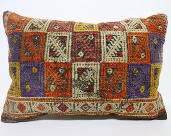 Lumbar Pillow  Bohemian Kilim Pillow Decorative Kilim Pillow Multicolor Kilim Pillow 16x24  Embroidered Handwowen Kilim Pillow SP4060-848