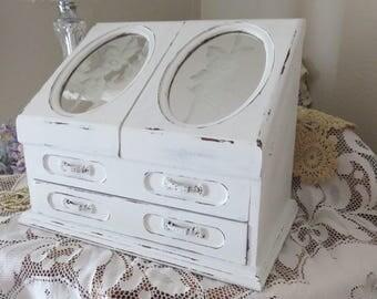 Shabby Chic Large White Jewelry Box