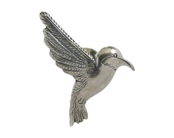H & H Sterling Silver Figural Hummingbird Tie Tack Lapel Pin