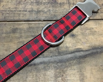 "Red Buffalo Plaid 1"" Dog Collar 