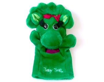 Vintage 90s Baby Bop Hand Puppet 1993 Plush Barney Plushie The Lyons Group Stuffed Doll Green Dinosaur Animal 90s 1990's Retro TV Show Kids