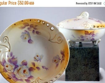 ON SALE NOW Hand Painted Vintage Enesco Decorative Bowl Set Yellow And Purple