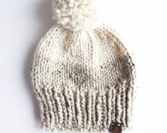 Two Toned Slouchy Knit Hat | Oatmeal