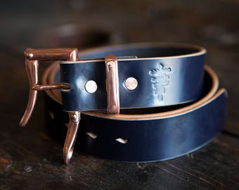 """1.5"""" Navy Sedgwick Bridle Quick Release Belt with Copper Buckle and Copper Keeper"""