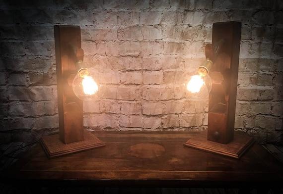 Pair Vintage Beech Plane bedside Lamps