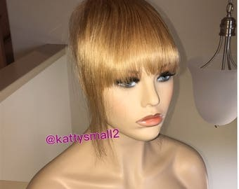 Blonde fringe, Clip in Bangs, lace closure, blonde wig, human hair closure, toupee, top piece