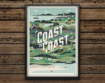 Cycling Art Print A3 / Coast to Coast