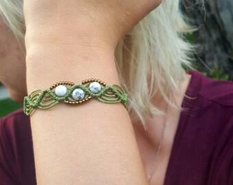 Trilite bracelet. Macrame bracelet. Woven bracelet. Beaded bracelet. Gemstone bracelet. Howlite bracelet. Unique design.