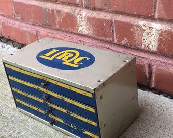 Vintage Industrial Metal Parts Drawer, Metal Cabinet, 4 Storage Drawers, Craft Storage, Vintage Garage, Industrial Decor, Craft Storage