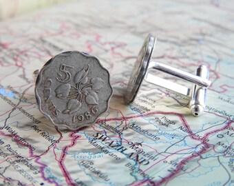 Swaziland coin cufflinks - 4 different designs - made of original coins - wanderlust - flower - plant - wedding present - bachelor
