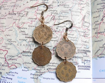Hong Kong coin earrings - 2 different designs - made of original coins - China - Asia - travel earrings