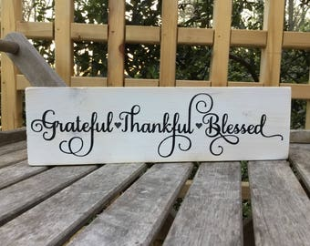 grateful thankful blessed,FREE SHIPPING,Painted Typography sign,Fun wood sign,wood art,wood sign saying,shelf wood sign,shabby chic art