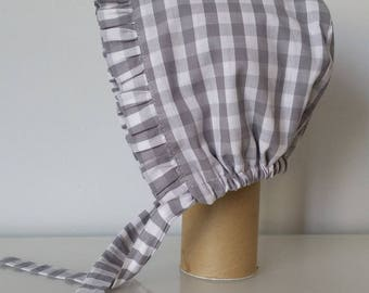 Baby and gray checkable cotton gray check