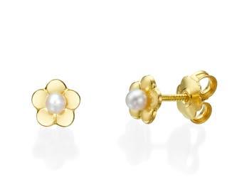 White Pearl Studs, Pearl Stud Earrings, 14K Yellow Gold Earrings, Gold Girls Earrings, Flower Stud Earrings, Gift for Kids