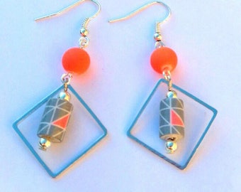 Gray and orange paper beads earrings