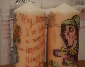 Alice In Wonderland Themed Set Of Candles